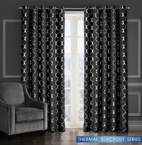 GEOMETRIC LATTICE METALLIC LIVINGROOM BEDROOM THERMAL BLACKOUT RING TOP CURTAINS BLACK